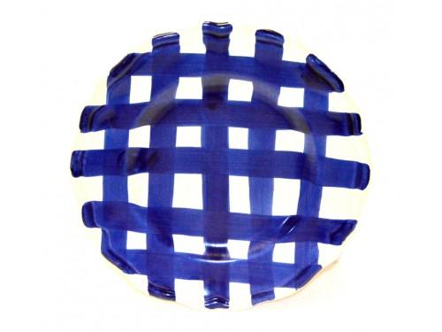 Salad Plate blue crossed lines