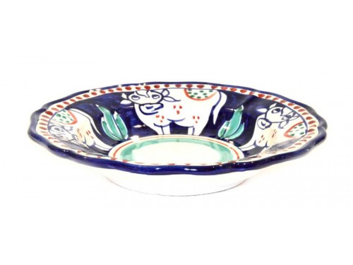 Pasta Plate Cow Blue