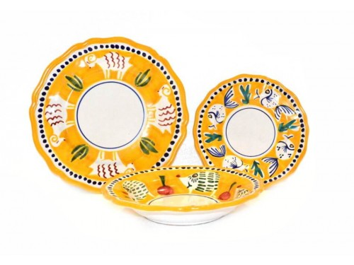 Set Dishes Animals yellow