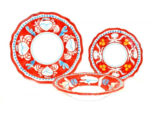 Set Dishes Animals red