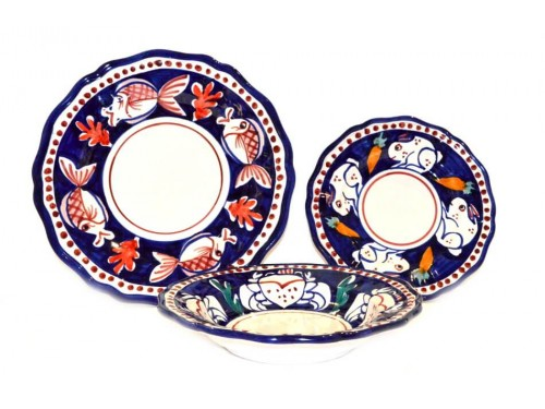 Set Dishes Animals blue