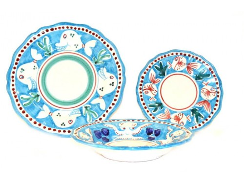 Set Dishes Animals light blue