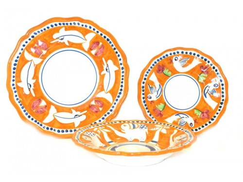Set Dishes Animals orange