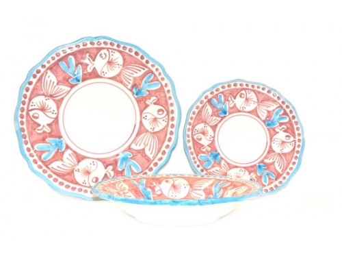Set Dishes Puffer fish pink