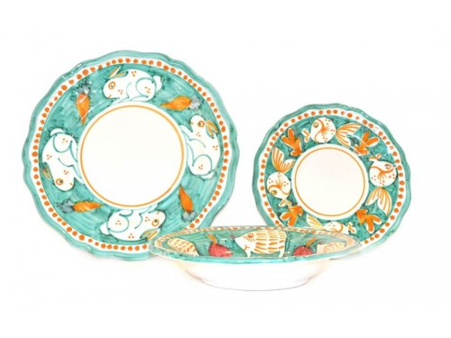 Set Dishes Animals aquamarine