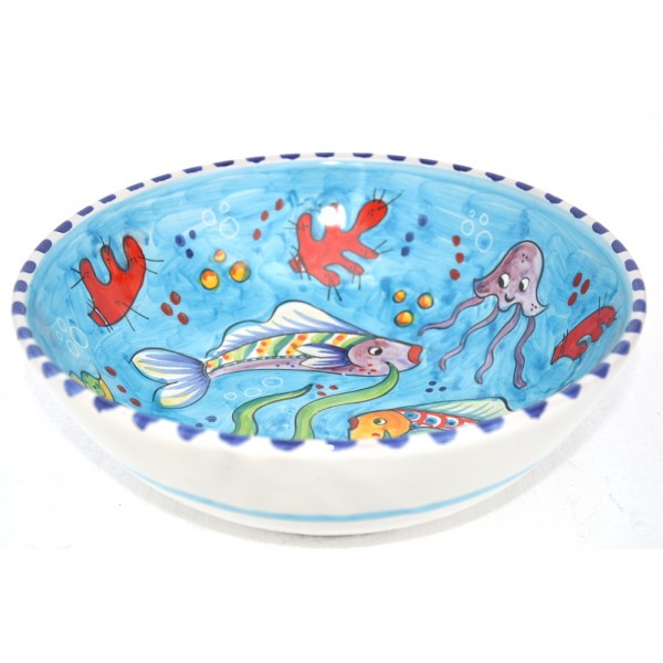Set Dishes Fishes light blue