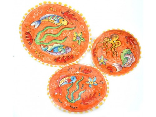 Set Dishes Fishes orange
