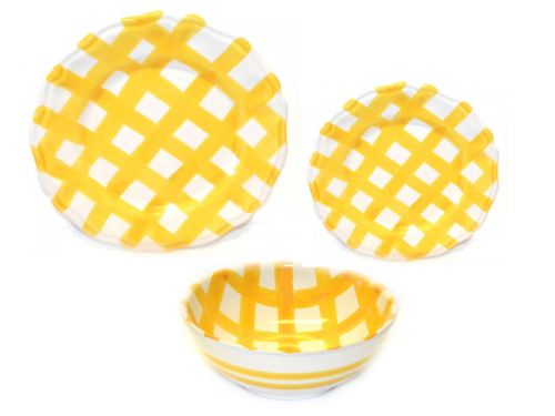Set Dishes Crossed Lines yellow