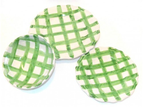 Set Dishes Crossed Lines green