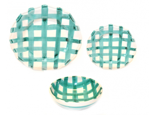 Set Dishes Crossed Lines aquamarine