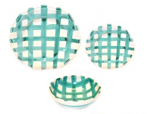 Set Dishes Crossed Lines aquamarine