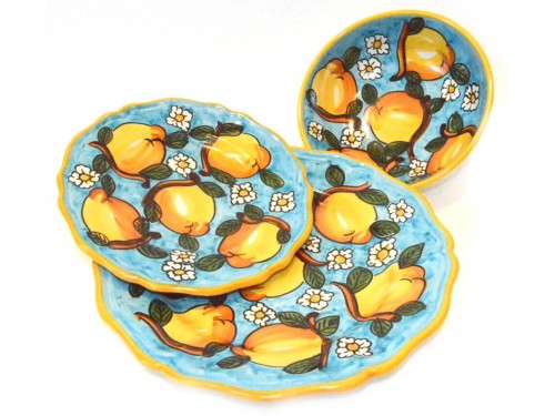 Set Piatti Limoni Margherite celeste