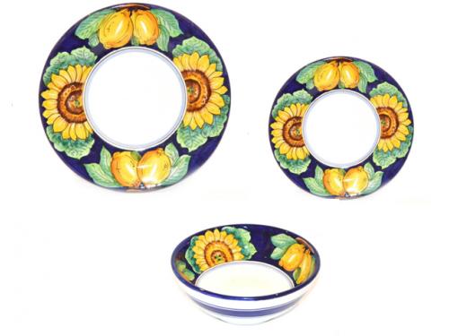 Set Dishes Lemon Sunflower Blue