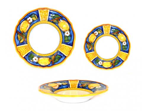 Set Dishes Lemon Conca Blue