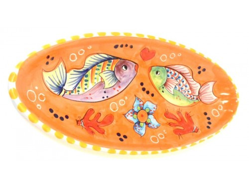 Oval (pointy) Plate Fishes orange