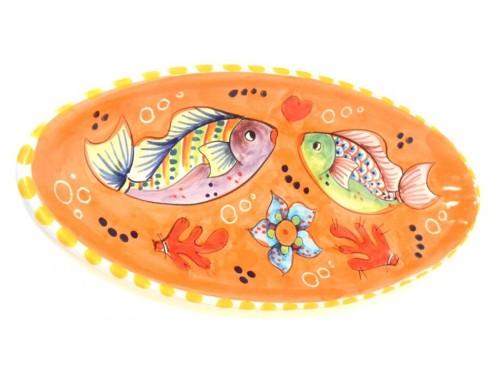 Piatto Ovale (appuntito) Pesci arancione