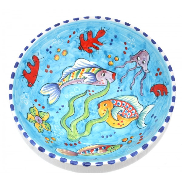 Round Bowl Fishes light blue