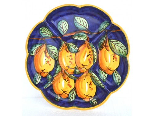 Antipastiera a fiore Limoni blu