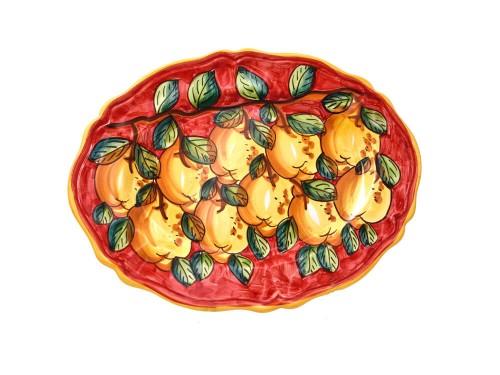 Piatto Ovale Limoni rosso