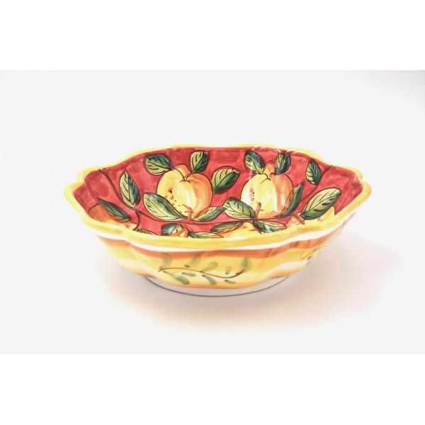Serving Scalopped Bowl Lemon Red