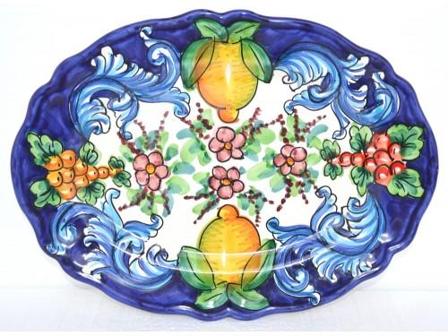 Piatto Ovale Smerlato Barocco blu