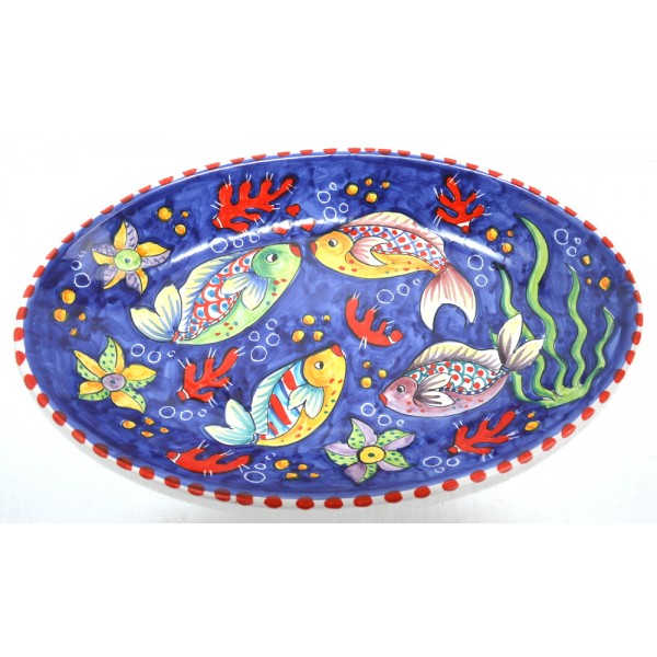Oval Plate Fishes blue