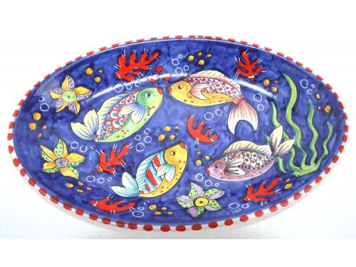 Piatto Ovale Pesci blu
