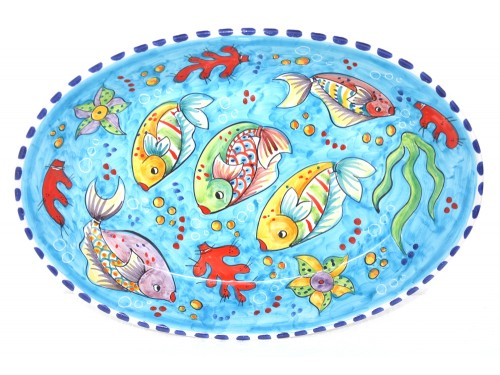 Oval Plate Fishes light blue
