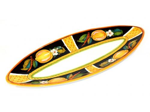 Oval (pointy) Plate Lemon Conca black