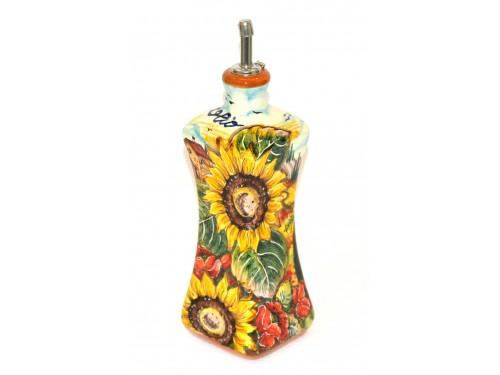 Oil Bottle Boccia Poppies Sunflowers