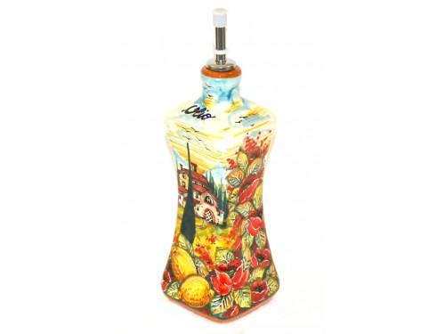 Oil Bottle Boccia Poppies Lemons
