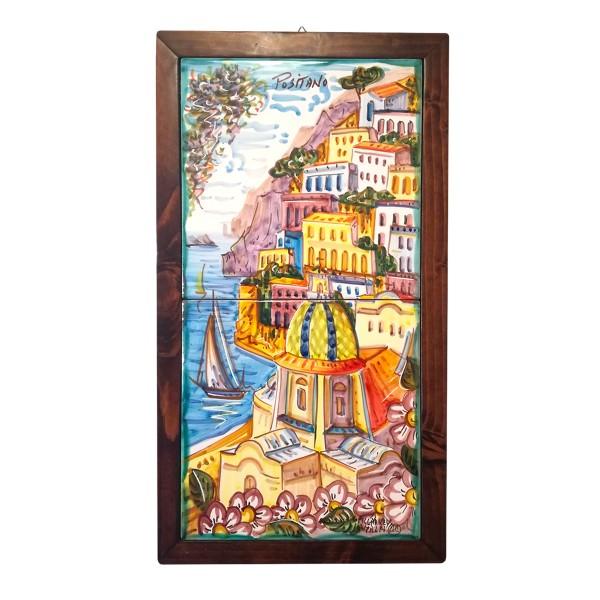 Set 2 tiles Positano framed