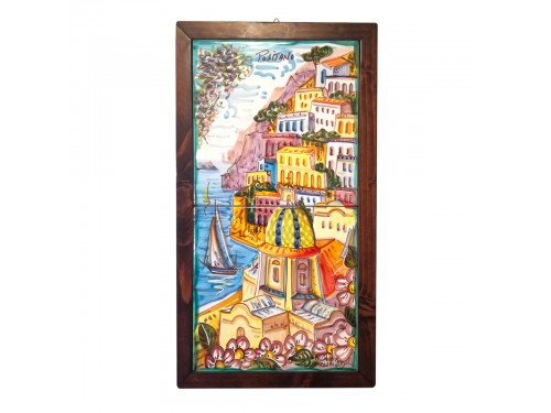 Set 2 tiles Positano framed