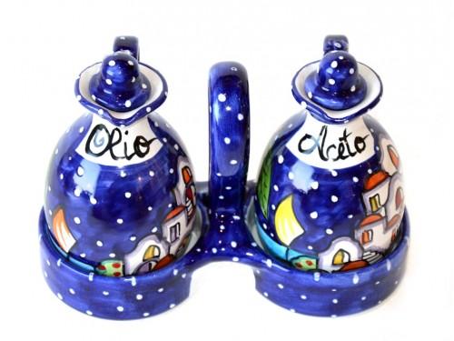Set Olio - Aceto Casette blu con cestello