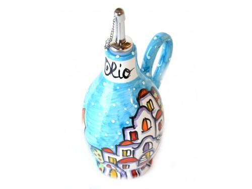 Bottiglia Olio Casette celeste