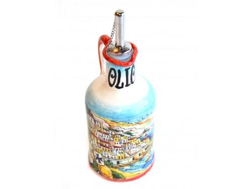Bottiglia Olio Decoro Amalfi rosso