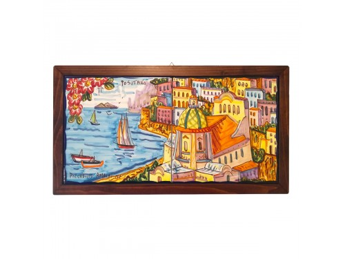 Set 2 tiles Positano framed 8x8 horizontal