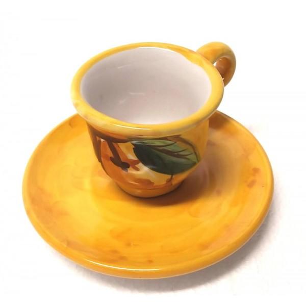 Tazzina caffè con piattino Limoni giallo