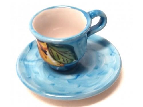 Tazzina caffè con piattino Limoni celeste