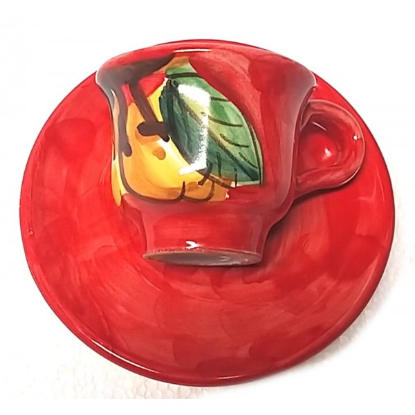 Espresso Cup & Saucer Lemon red