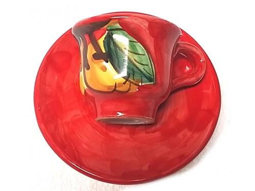 Tazzina caffè con piattino Limoni rosso