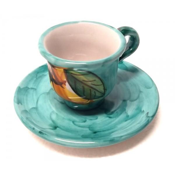 Tazzina caffè con piattino Limoni verde
