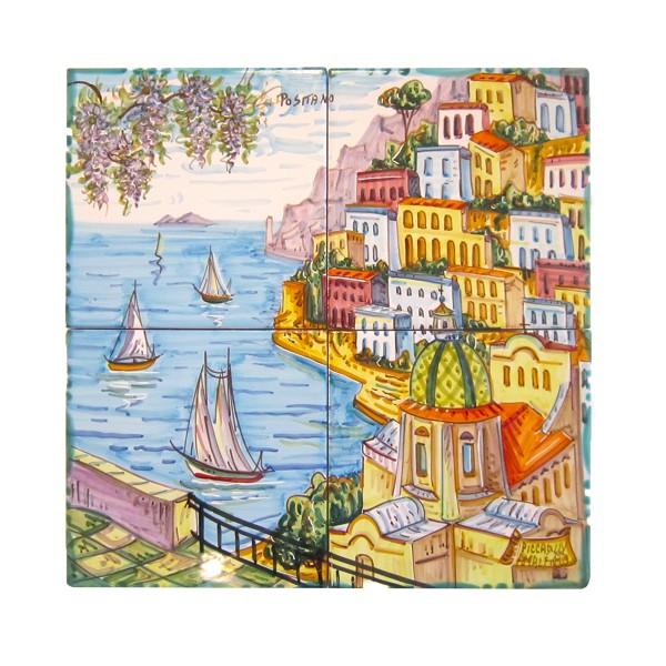 Set 4 tiles Positano