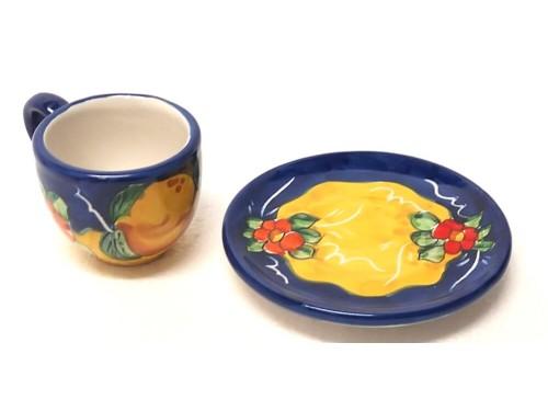 Tazzina da caffè con piattino Limoni Fiori blu