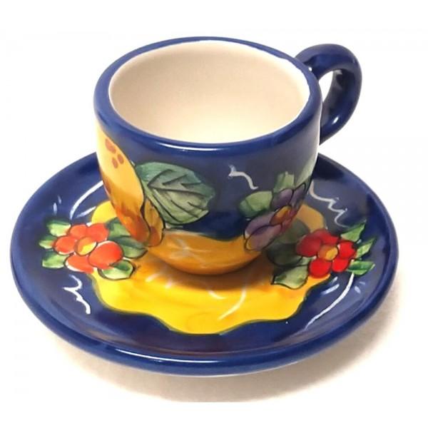 Espresso Cup & Saucer Lemon Flowers blue