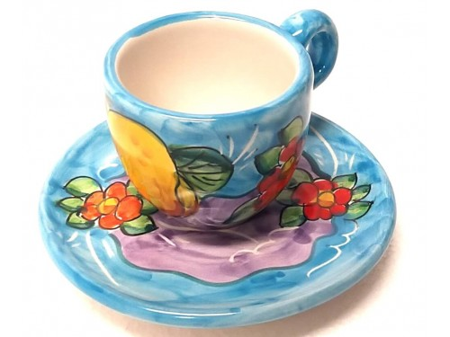 Espresso Cup & Saucer Lemon Flowers light blue