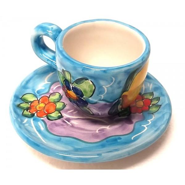 Tazzina da caffè con piattino Limoni Fiori celeste