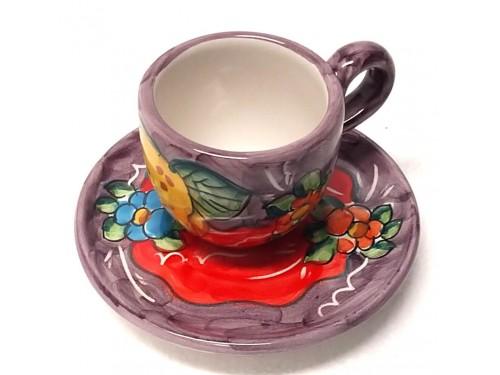 Tazzina da caffè con piattino Limoni Fiori viola
