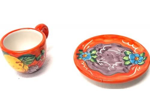 Espresso Cup & Saucer Lemon Flowers orange