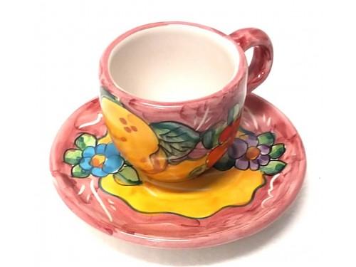 Tazzina da caffè con piattino Limoni Fiori rosa